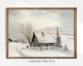 Rustic Winter Oil Painting Vintage Print Antique Christmas PRINTABLE Wall Art 286