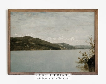 Antique Lake Painting | Vintage Print | Rustic Decor PRINTABLE Downloadable #321