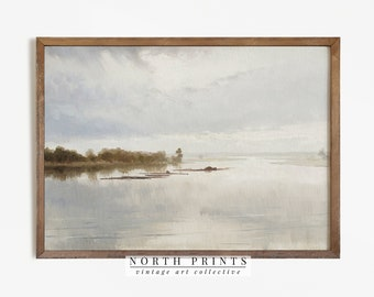 Muted Tonal River Painting   Neutral Landscape Print   Downloadable Digital Art PRINTABLE   862
