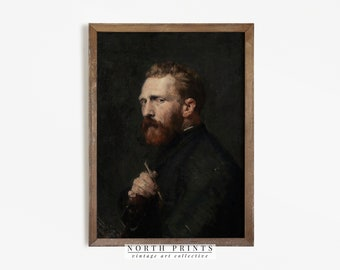 Man Portrait Painting | Vintage Oil Dark Moody Portrait Digital PRINTABLE | 705