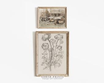 Neutral Vintage Print SET   European Flower Market Painting   Botanical Sketch Art PRINTABLE   S2-40