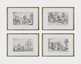 Vintage Landscape Etchings | Antique Drawing Collection | Sketch Print Set | PRINTABLE #S60