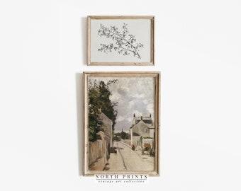 Vintage European Art Print SET   Village Painting   Botanical Sketch Art PRINTABLE   S2-41