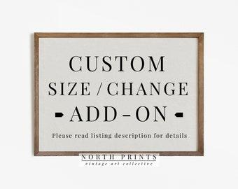 CUSTOM SIZE to 1 design Add-on    **Read listing description** for details