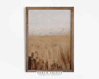Autumn Landscape Hay Field Painting   Vintage Neutral Print   Farmhouse Art PRINTABLE   864