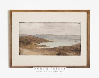 Rustic Coastal Print   Vintage Seascape Scenery Painting   Digital PRINTABLE   772