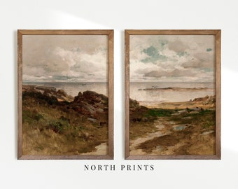 Vintage Coastal Landscape Print SET | Moody Antique Paintings | Digital PRINTABLE | S37