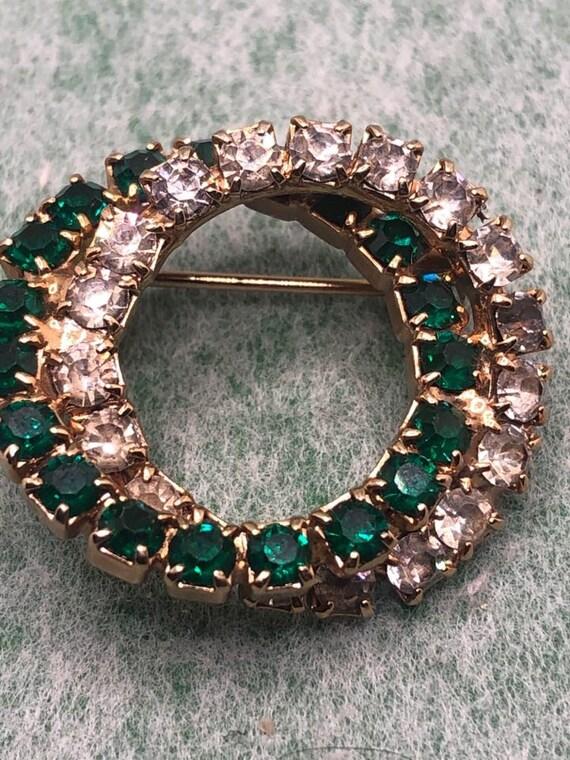 Vintage Brooch-ribbon-grape-tassel-glass-green-blue-gold-1960s-mid century-statement-runway-Gift