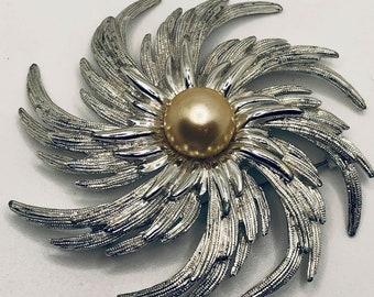 "Sarah Coventry Faux  Pearl Center Hurricane Swirl Brooch, ""Pinwheel"""