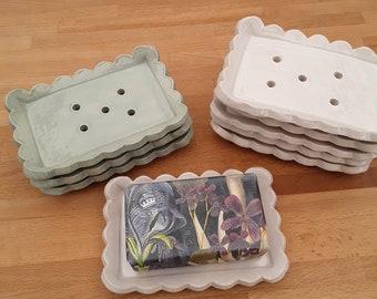Large scalloped soap dish, handmade