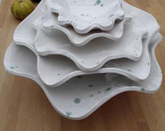 Wavy white with green splatter bowls