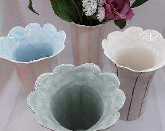 Scalloped decorative vases, handmade