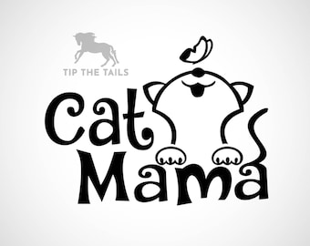Cat Mama Kitty Decal - Decal for Cups, Car Windows, Computers, and more - Cat Decal Sticker in Multiple Sizes   TipTheTails
