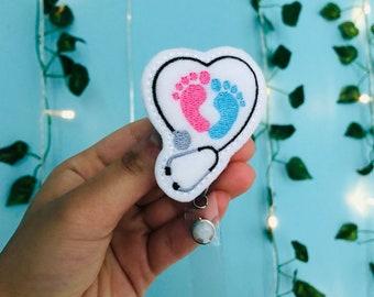 Blood Droplet Heart w Stethoscope Thin Blue Line Acrylic Badge Reel Baby Feet Bandage