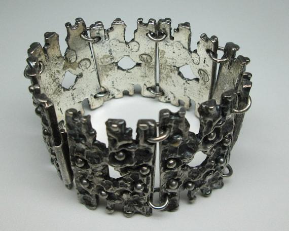 R Larin brutalist pewter bracelet , mid century mo