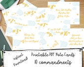 10 Commandments for Kids Study Cards Print Art Note Card Printables