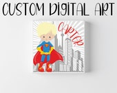 Customized Name Wall Art For Children's Room with Princess, Superman, Spiderman, Mermaid and More