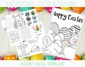 Easter Activity Printable Workbook for Kids - Christian Coloring Pages, Craft, Buttons, Word Search and More