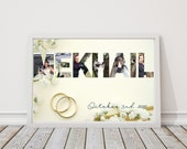 Custom Last Name Wedding Photo Collage Wall Art, Personalized Printable Download, Photo Gifts, Word Art Plaque