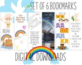 Noah's Ark Printable Bookmarks - Set of 6 Inspirational Scripture Bookmarks, Ready To Print