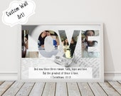 Custom Bible Verse & Last Name Wedding Photo Collage Wall Art, Personalized Christian Printable Download, Photo Gifts, Word Art Plaque