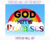 Printable Canvas Art For Nursery - Rainbow Decor - Christian Wall Art