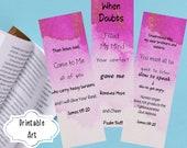 Inspirational Scripture Printable Bookmarks - Set of 3 Bible Verse Bookmarks