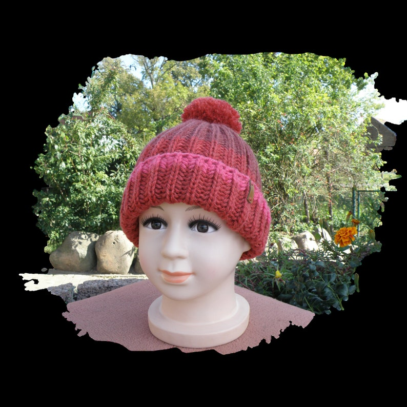 knitted,size 49 to 52 winter hat with bobble Bobble hat for children