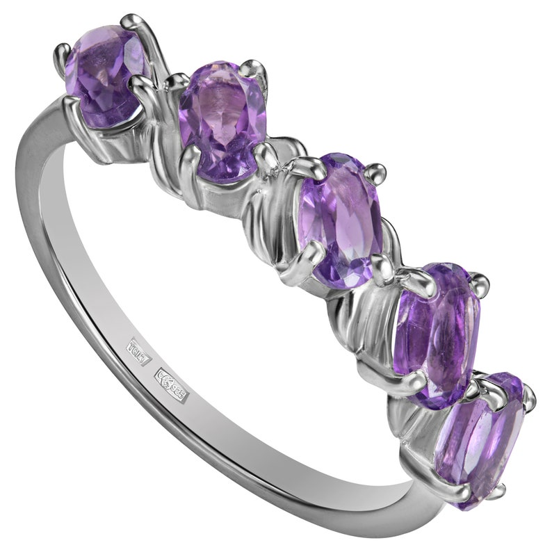 Any Ring Size! Engagement Amethyst Ring for Her Amethyst Ring February Birthstone Ring for Women Promise Ring Sterling Silver Ring