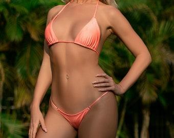Peach Bikini Set | Peach Pink Thong Bikini | High Quality Swimwear by MILA SWIMWEAR USA