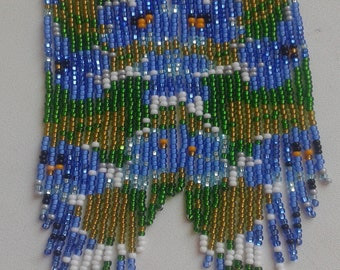 Flowers beaded earrings, blue beaded earrings,fringle earrings, blue flowers earrings