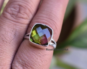 Tourmaline Quartz Gemstone Rings 12x16mm Cushion Cut Gemstone Multi Bi-Tourmaline Quartz Sterling Silver Ring Wedding Ring