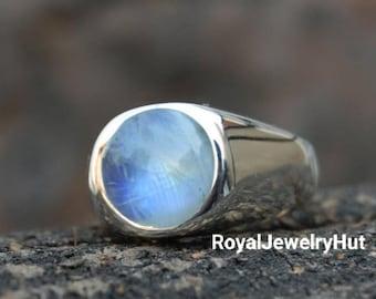 Wedding /& Engagement Ring Gift for Men June Birthstone Ring for Men/'s Moonstone Gemstone Sterling Silver Ring Signet Ring for Him