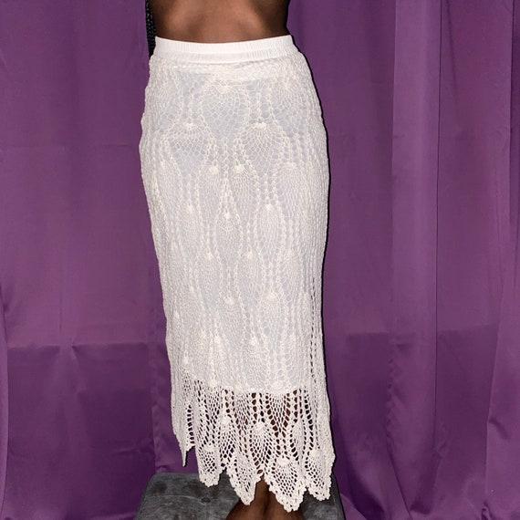 vintage 90s white crochet maxi skirt