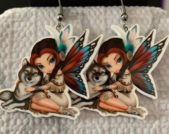Sweet Fairy with Wolf Hook Earrings