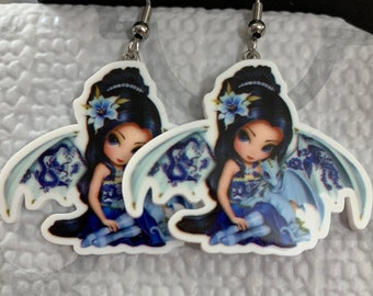 Fairy with blue baby dragon hook earrings