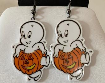 Casper Pumpkin Flatback Hook Earrings
