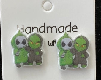 Grinch and Jack Mash-up Stud Earrings
