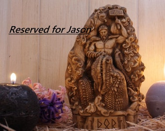 Thor statue, Mjolnir, Thunder god, Valhalla Norse pagan Norse mythology Norse gods Viking decor Wood carving Odin, Wooden statue Norse decor