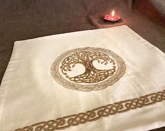 Yggdrasil Altar cloth Pagan altar cloth Travel altar Norse decor Viking decor Norse mythology Asatru Embroidered napkins Сeltic Tree of life