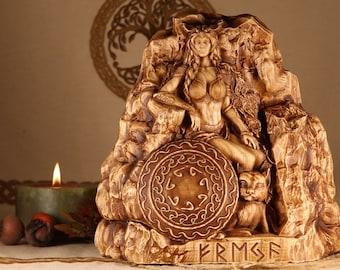 Freya, Freyja statue, Pagan goddess statue altar, Wood carving
