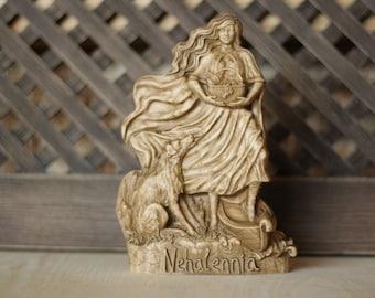 Nehalennia Celtic goddess, Sea goddess, Fertility statue, Wicca goddess statue Wooden statue Norse pagan Mythology art Germanic Netherlands