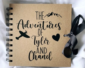 """Personalised Travel Adventure scrapbook, 8""""x8""""Valentines gift, travel gift, gift for couples, gift for him, gift for her,valentines idea"""