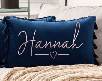 Personalised Velvet Couples Cushion Tassel Design /Pillow Couples Pillow, Valentines Gift, Gift for Her, Bedding, Personalised Pillow