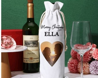 Wine Bottle Bag Drawstring Wine Bag Polyester Wine Bag Heat Transfer PICTURE Bag for Christmas, Anniversary, Birthday, Wedding and Party