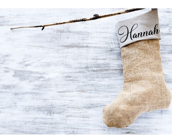 Personalised stocking, hessian style Christmas, Burlap,Hessian, Children's Christmas, Presents, Favours, Party