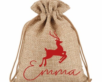 Personalised Christmas Favour Hessian Bags Sweets Fun  Chocolates Favours Gifts Present Table name Setting Place stocking filler