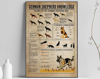 Knowledge German Shepherd Poster Print 24x36 Inches Wall Art Classic  Vintage