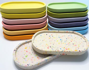 Terrazzo Jesmonite Tray, Oval Eco Friendly Decorative Candle Holder Jewellery Make-up Crystal Dish Pastel Colour Perfume Key Card Coin Plate
