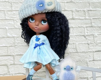 SOLD OUT Blythe custom doll super dark skin natural black hair, Blythe doll, free gift - Magic bird!!!